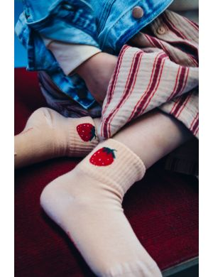 Tiny Cottons Strawberry Quarter Socks light nude/burgundy