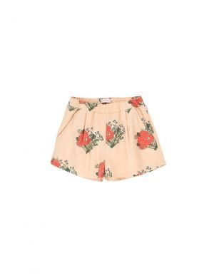 Tiny Cottons Flowers Pleated Short cappuccino/red
