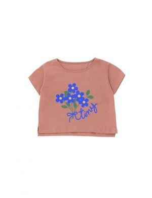 Tiny Cottons Tiny Bouquet Crop Tee Mauve/Iris Blue
