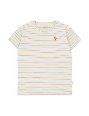 Tiny Cottons Bird Stripes Tee Light Blue Grey/Honey