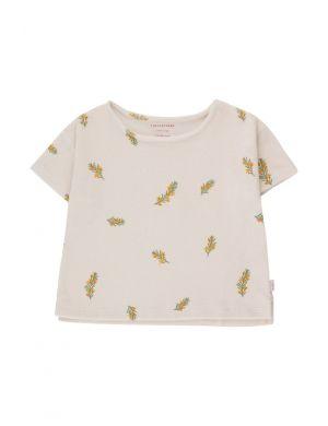Tiny Cottons Twigs Crop Tee Light Cream/Green