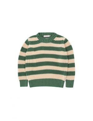 Tiny Cottons Stripes Sweater Green/Light Cream