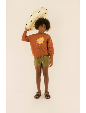 Tiny Cottons Bird Sweatshirt Nut Brown/Yellow