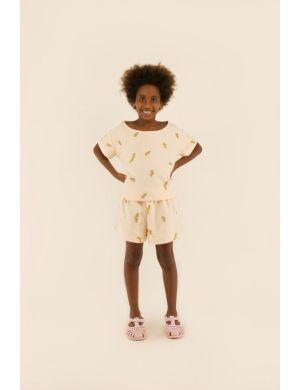 Tiny Cottons Twigs Short Light Cream/Green