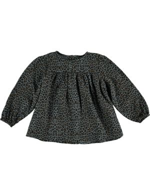 Tocoto Vintage Animal Print Blouse Puff sleeves